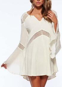 White V Neck Bell Sleeve Hollow Dress