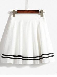 White High Waist Striped Flare Skirt