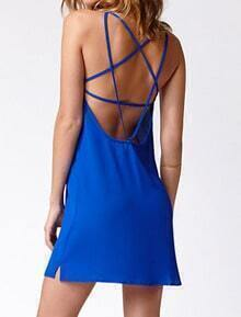 Blue Criss Cross Back Backless Chiffon Dress