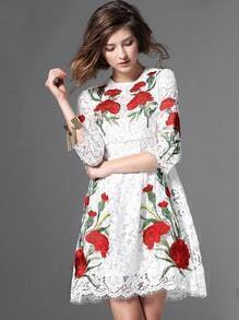 White Round Neck Rose Embroidered Lace Dress
