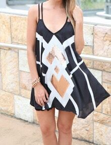 Black Spaghetti Strap Sequined Loose Dress