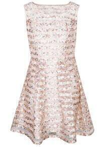 Pink Sleeveless Floral Striped Organza Dress