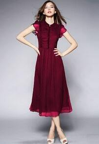 Red Round Neck Ruffle Slim Maxi Dress