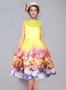Yellow Sleeveless Floral Flare A Line Dress