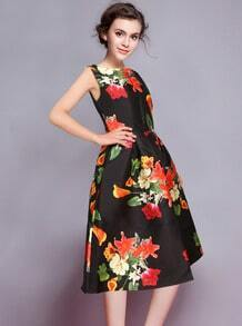Black Sleeveless Floral Flare A Line Dress
