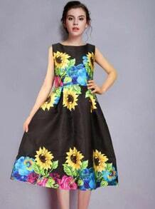 Black Sleeveless Sunflowers Print A Line Dress