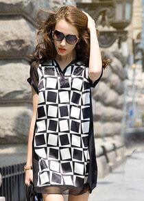 Black Lapel Geometric Print Loose Dress