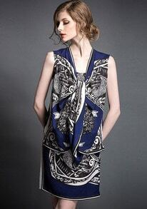 Royal Blue Round Neck Tribal Print Asymmetrical Dress