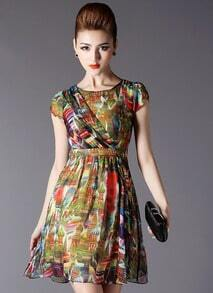 Multicolor Short Sleeve Slim Floral Dress
