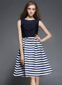 Navy Round Neck Sleeveless Striped Flare Dress