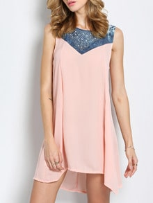 Pink Round Neck Sleeveless Bead Crystals Rhinestone Loose Dress