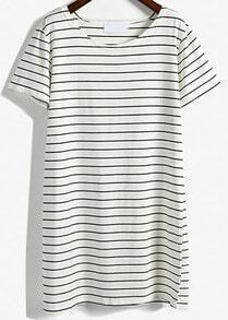 White Short Sleeve Striped Loose T-Shirt Dress