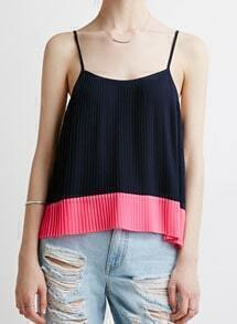 Colour-block Spaghetti Strap Cami Top