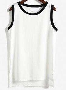 White Round Neck Contrast Trims Tank Top