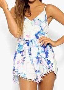 Blue Spaghetti Strap Floral Backless Slim Jumpsuit