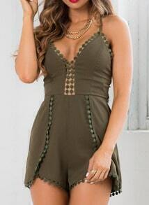 Army Green Spaghetti Strap Backless Peplum Trims Jumpsuit