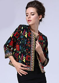 Black Round Neck Tribal Print Crop Outerwear