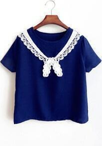 Blue Short Sleeve Lace Embellished T-Shirt
