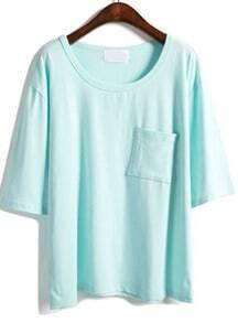 Green Half Sleeve Pocket Loose T-Shirt