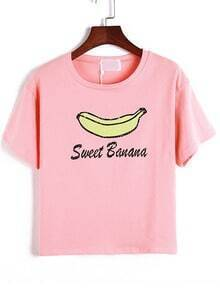 Pink Short Sleeve Banana Print Loose T-Shirt