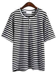 Black White Short Sleeve Striped Buttons T-Shirt