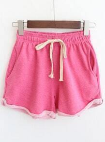 Rose Red Drawstring Waist Pockets Casual Shorts