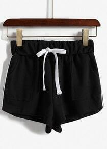 Black Drawstring Waist Pockets Shorts