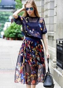 Blue Batwing Sleeve Floral Chiffon Top With Skirt
