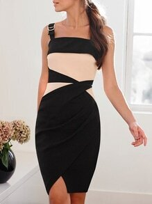 Black Spaghetti Strap Backless Color Block Dress