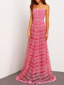 Pink Spaghetti Strap Backless Lace Maxi Dress