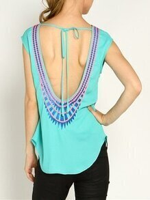 Green Cap Sleeve Backless Tribal Print Blouse