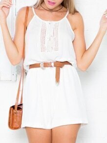 White Spaghetti Strap Backless Hollow Playsuit