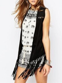 Black Sleeveless Hollow With Tassel Kimono
