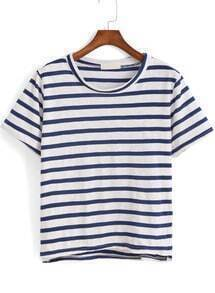 Blue Short Sleeve Striped Dip Hem T-Shirt