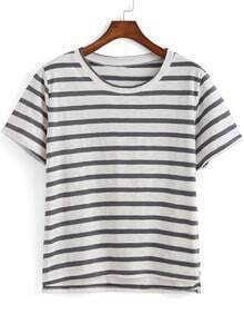 Grey Short Sleeve Striped Dip Hem T-Shirt