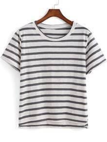 Grey Short Sleeve Striped Dip Hem T-Shirt