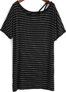 Black Boat Neck Striped Loose T-Shirt