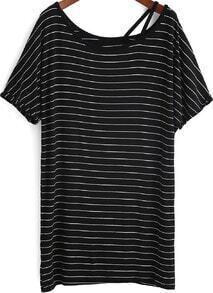 Black Boat Neck Striped Loose T-Shirt