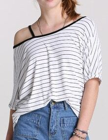 White Boat Neck Striped Loose T-Shirt