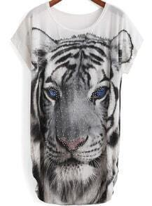 White Short Sleeve Tiger Print Rhinestone T-Shirt