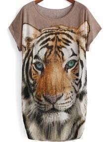 Camel Short Sleeve Tiger Print Rhinestone T-Shirt