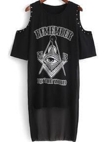 Black Off the Shoulder Eye Print Tassel T-Shirt