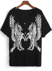 Black Short Sleeve Eagle Print Loose T-Shirt