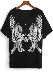 Black Short Sleeve Eagle Print Loose T-Shirt