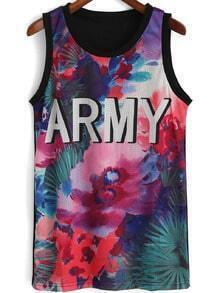 Black Round Neck ARMY Print Tank Top