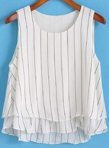 White Vertical Stripe Ruffle Chiffon Tank Top