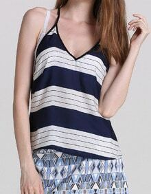 Royal Blue Spaghetti Strap Striped Cami Top
