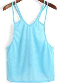 Blue Spaghetti Strap Cross Back Cami Top