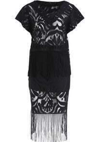 Black V Neck Tassel Lace Top With Skirt
