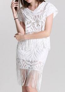White V Neck Tassel Lace Top With Skirt